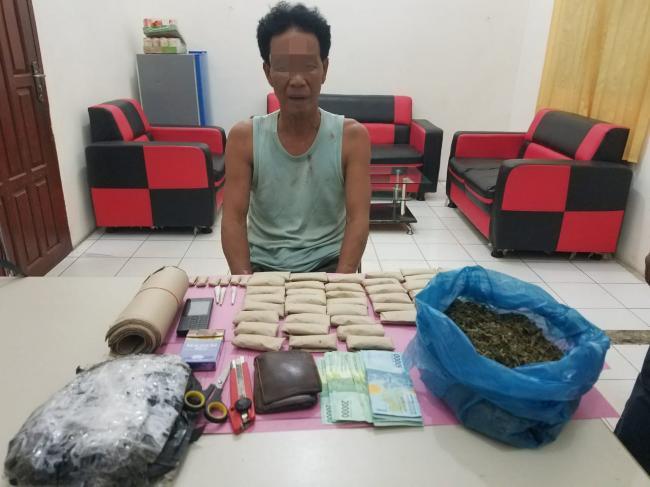 Tangkap Pelaku Narkoba di Desa Pantai Cermin Tapung, Petugas Temukan 0,6 Kg Daun Ganja Kering