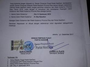 Beredar SK Dukungan Buat Syamsuar, Ini Kata Ketua DPW Nasdem Riau