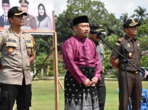 Plt. Bupati Kampar didampingi Forkopimda Pimpin Apel Sinergitas 3 Pilar Jelang Pemilu 2019
