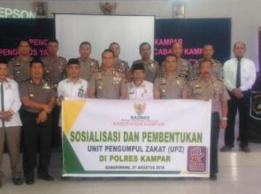 Baznas Gelar Sosialisasi di Polres Kampar.