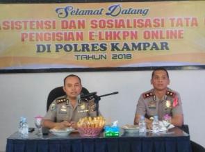 Tim Itwasda Polda Riau adakan Sosialisasi LHKPN Online di Polres Kampar