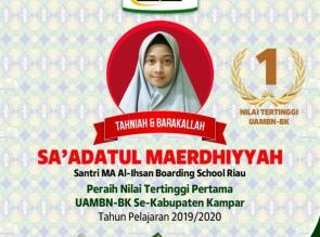 MA Al-Ihsan Boarding School Raih Nilai Tertinggi UAMBN-BK se-Kabupaten Kampar