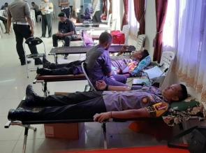 Anggota Polres Kampar Gelar Donor Darah Dalam Rangka Hari Bhayangkara ke-73 tahun 2019