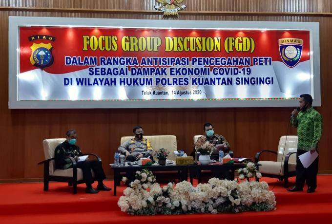 Polres Kuansing Helat FGD Dalam Rangka Antisipasi Pencegahan Peti Sebagai Dampak Ekonomi Covid19