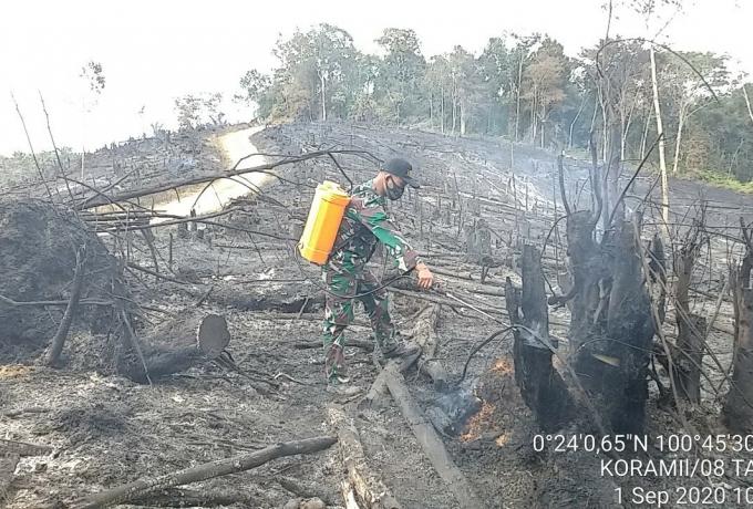 Meski Sudah Padam TNI Polri dan Masyarakat Terus Lakukan Upaya Pendinginan Lahan