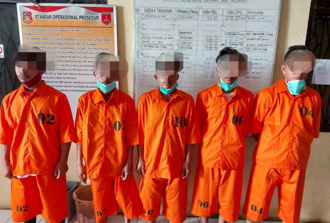 Polsek Tapung Tangkap 5 Pelaku Pengeroyokan dan Penganiayaan