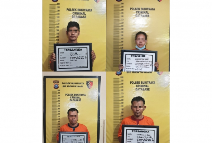 Empat tersangka Curat ditangkap Polisi satu diantara wanita, telah Dimankan Polsek Bukit Raya.