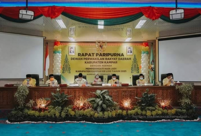 DPRD Kabupaten Kampar Gelar Sidang Paripurna Istimewa Sambut HUT Kampar Ke 71 Tahun 2021