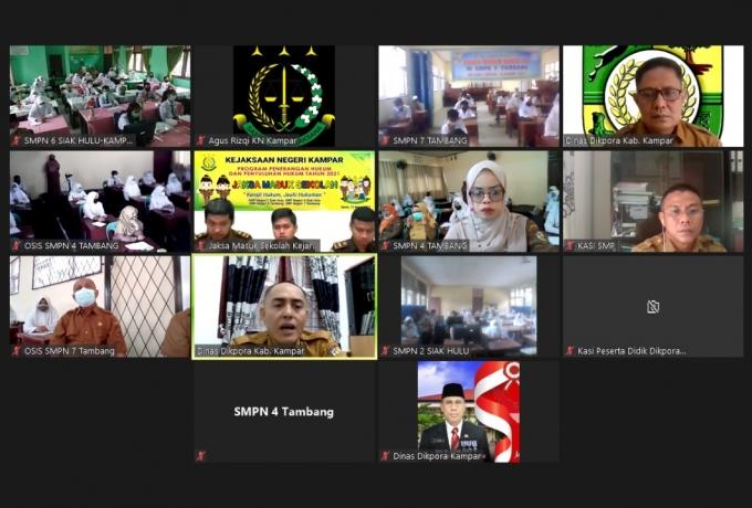 Kejari Kampar Gelar Penyuluhan Hukum Disekolah Secara Virtual