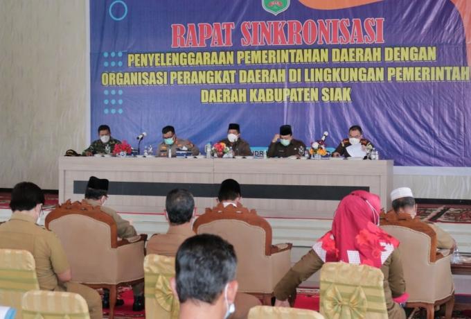 Bupati Siak Alfedri, Pimpin Rapat Sinkronisasi Penyelenggaraan Pemerintah Daerah