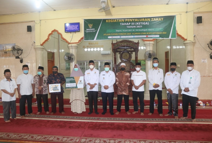 Bersama Wabup Siak, Baznas Kembali Salurkan Dana Zakat di Kecamatan Dayun