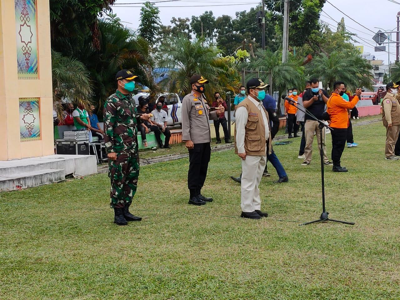Bupati Kampar, Dandim 0313/KPR dan Kapolres Pimpin Apel Gabungan untuk Sosialisasi Perbup