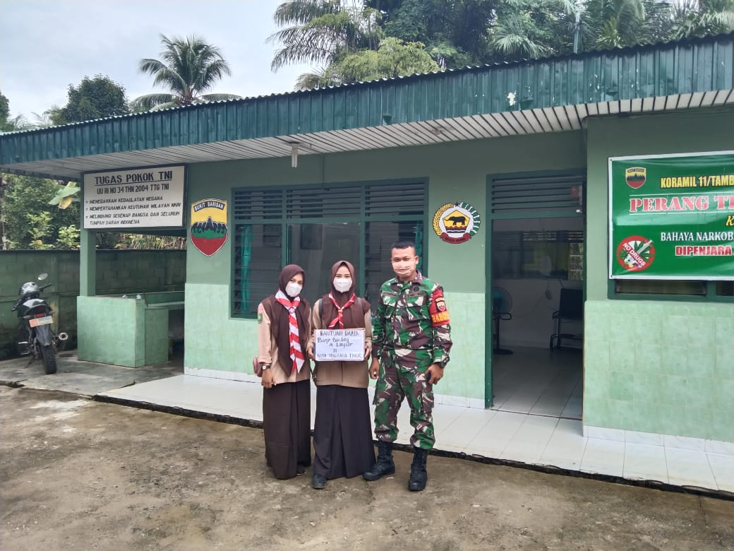 Babinsa Apresiasi Kepedulian, Siswa dan Siswi SMAN 1 Tambusai Galang Dana Untuk Korban Banjir Di NTB