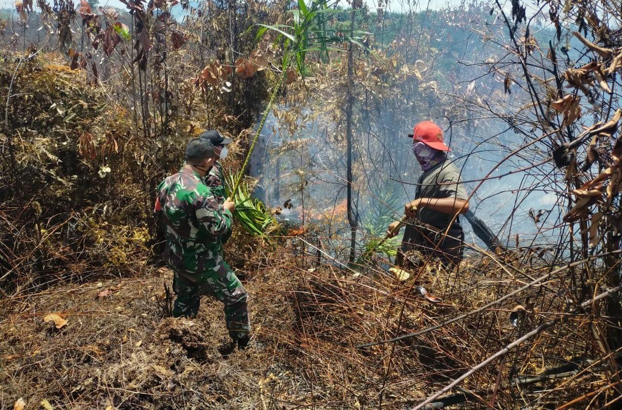 Meski Terbatas Peralatan, Babinsa Bantu Warga Padamkan Api Kebakaran Lahan di Desa Kumain