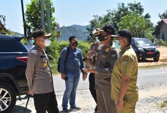 Kapolres Kampar Bersama Dinas Terkait Tinjau Persiapan Pos Cek Point Perbatasan Riau - Sumbar Jelang