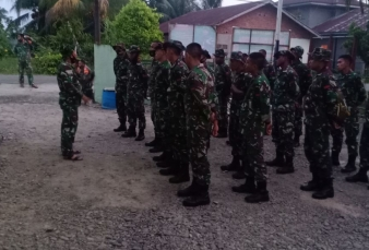Danramil 13/Rokan Menyambut Kedatangan Pasukan Satgas TMMD Dari Tri Matra Dan Kepolisian