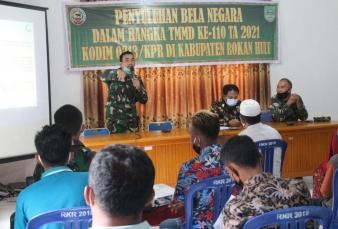 Satgas TMMD 110 Kodim 0313/Kpr Gelar Penyuluhan Bela Negara di Kabupaten Rokan Hulu