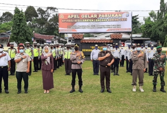 Polres Kampar Adakan Apel Gelar Pasukan Operasi Keselamatan Lancang Kuning 2021