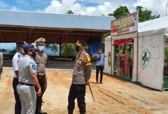 Kapolres Kampar Tinjau Posko Ops Keselamatan LK 2021 di Jalan Lintas Riau - Sumbar Desa Tanjung Alai
