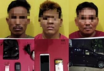 Tiga Pengedar Sabu Diringkus Resnarkoba Polres Kampar di Dua Lokasi di Tapung Hilir